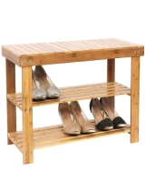 2 Tier Natural Bamboo Shoe Rack Organiser Holder 70 x 28 x 45cm
