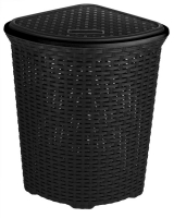 Large Corner BLACK Rattan Laundry & Washing Basket 52 Litres