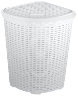 Large Corner WHITE Rattan Laundry & Washing Basket 52 Litres